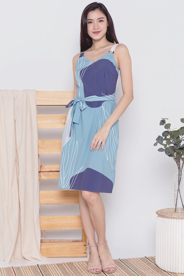 Keller Ring Abstract Dress (Green/Blue)