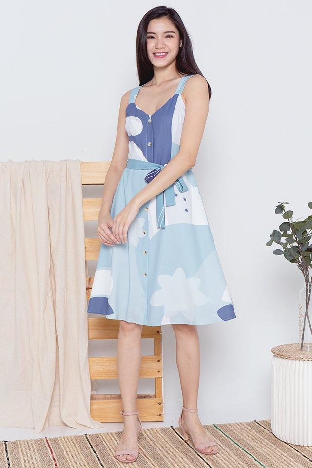 Madeleine Abstract Dress (Blue)