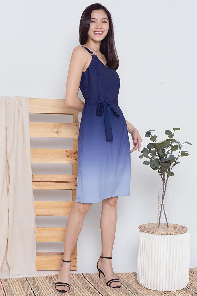 Cally Ring Ombre Dress (Navy-Blue)