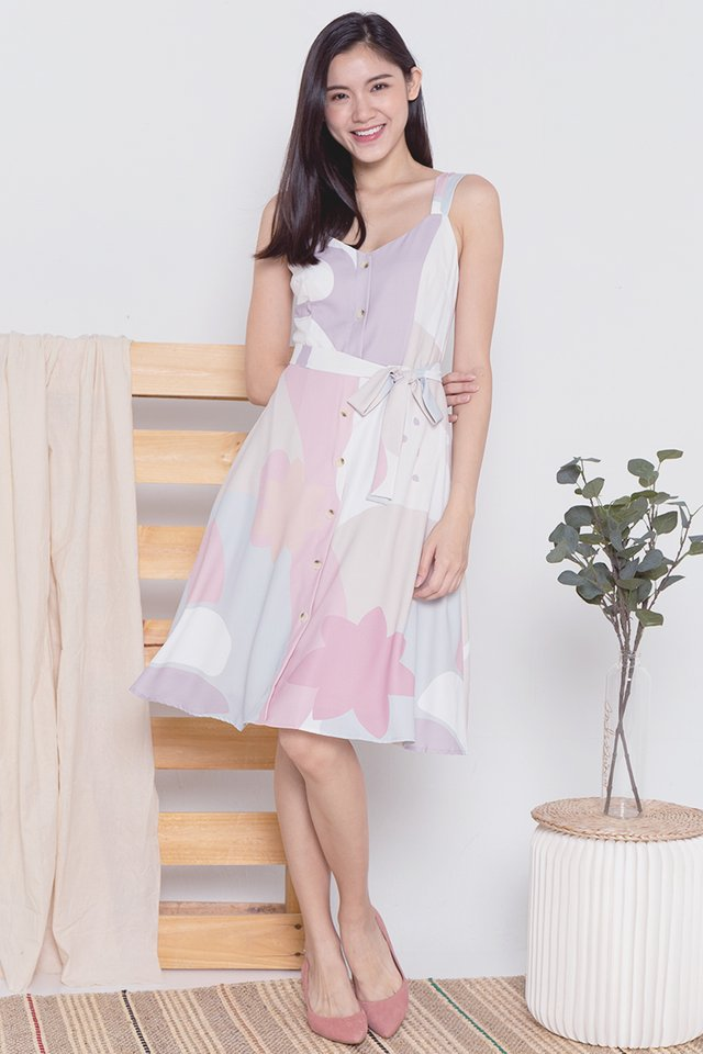 Madeleine Abstract Dress (Pink)