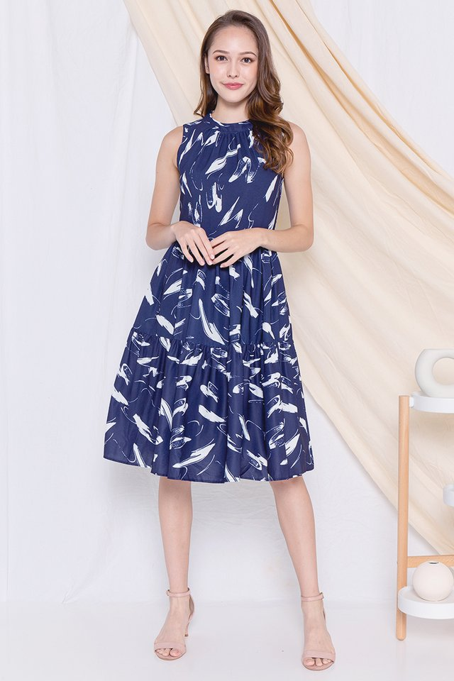 Helsi High Neck Midi Dress (Navy Blue)