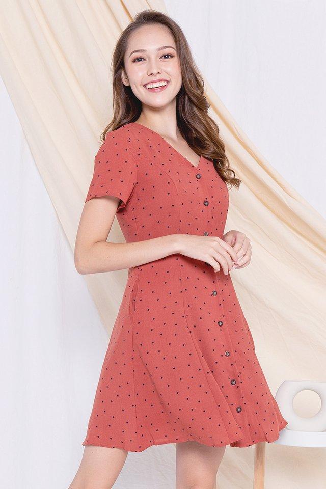 Elle Polka Dot A-line Dress (Terracota)
