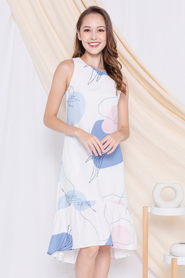 Sadie Abstract Fishtail Dress (White)