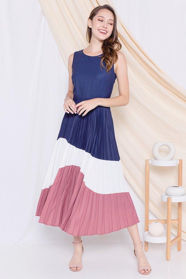 Germaine Pleated Maxi Dress (Navy/White)
