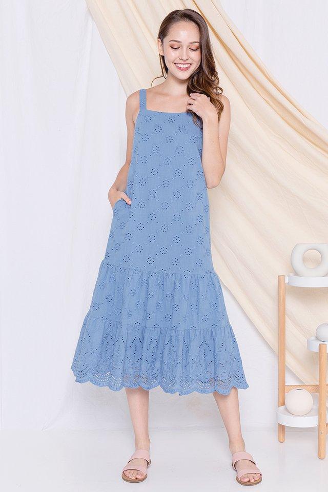Eleanor Eyelet Midi Dress (Blue)