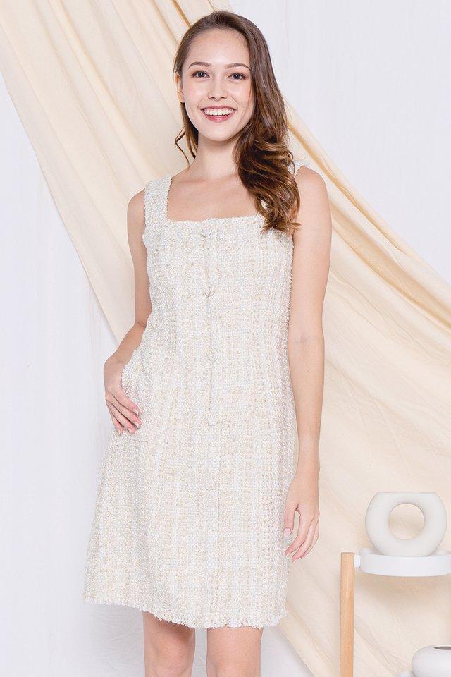 Yale Button Tweed Dress (Cream)