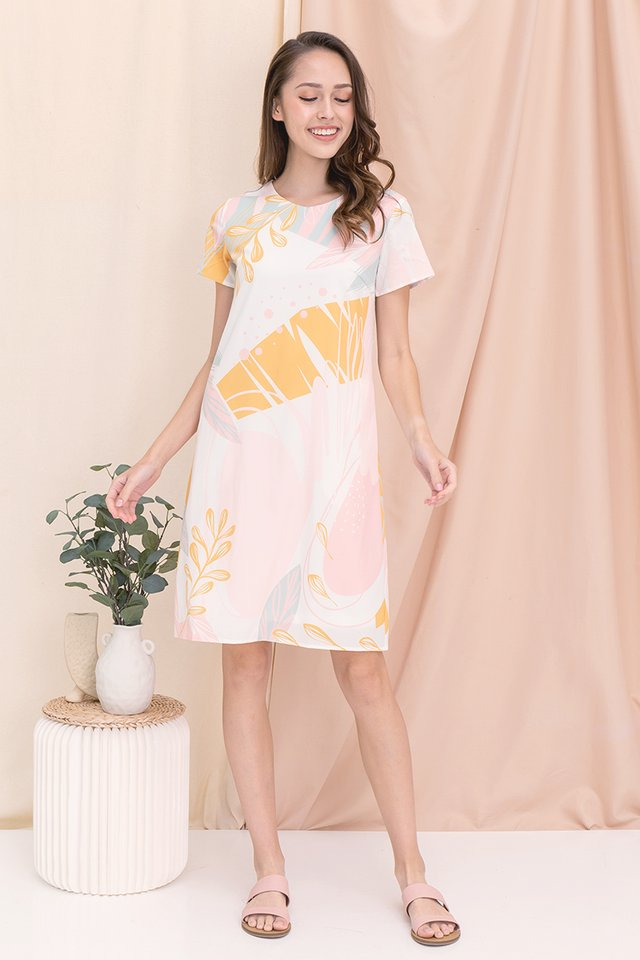 Alanna Abstract Sleeve Dress (Orange)