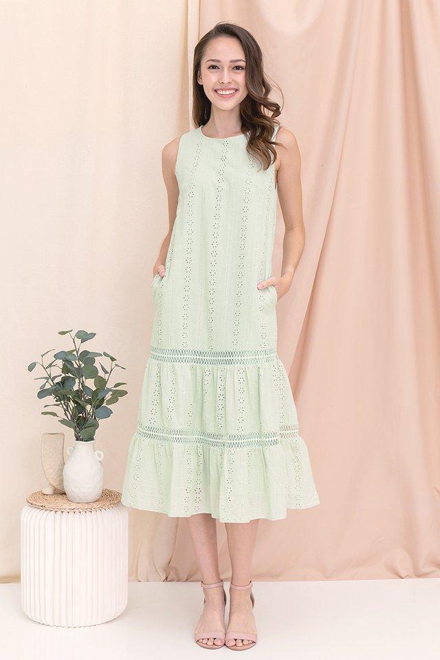 Gracie Eyelet Midi Dress (Green)