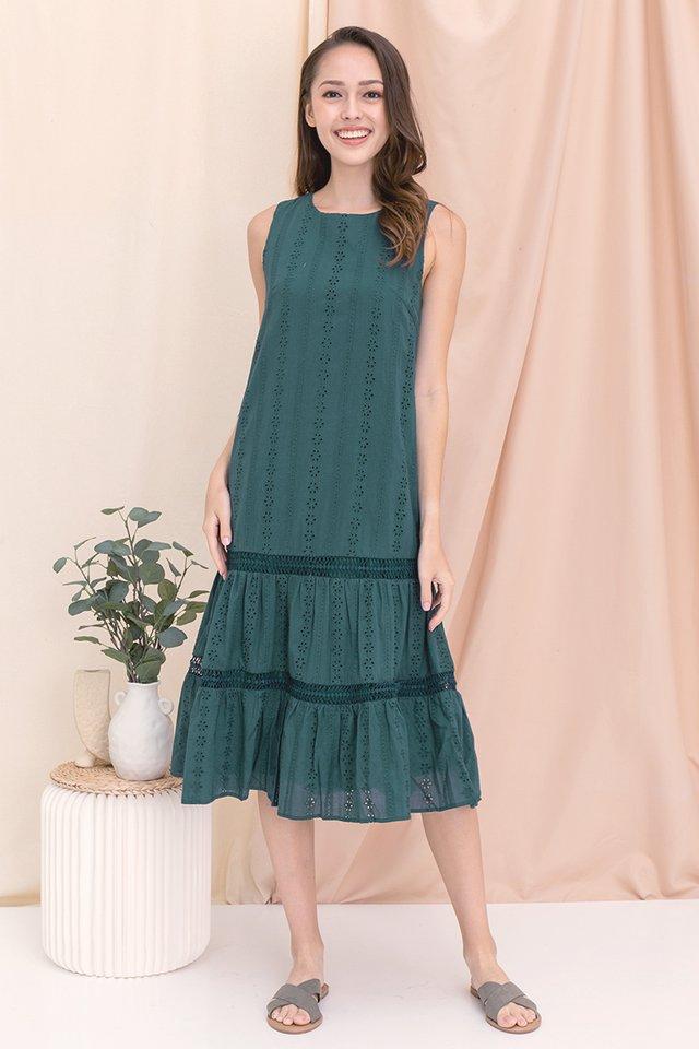 Gracie Eyelet Midi Dress (Forest Green)