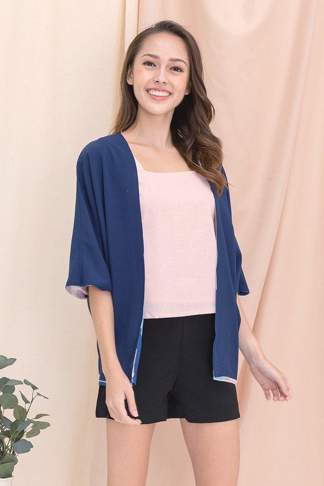 Drea Reversible Kimono Jacket (Navy Blue)