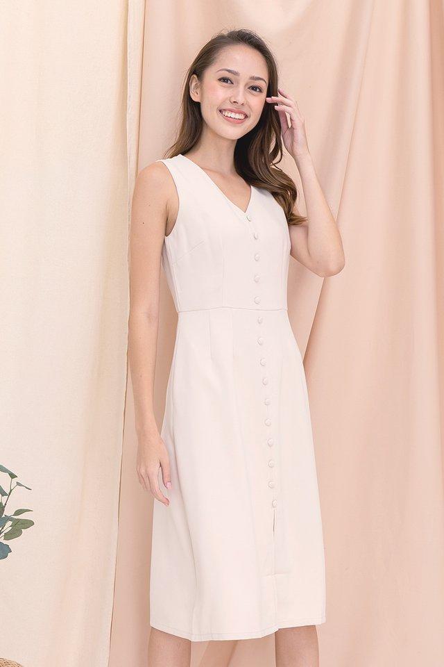 Jolene Button Midi Dress (Cream)
