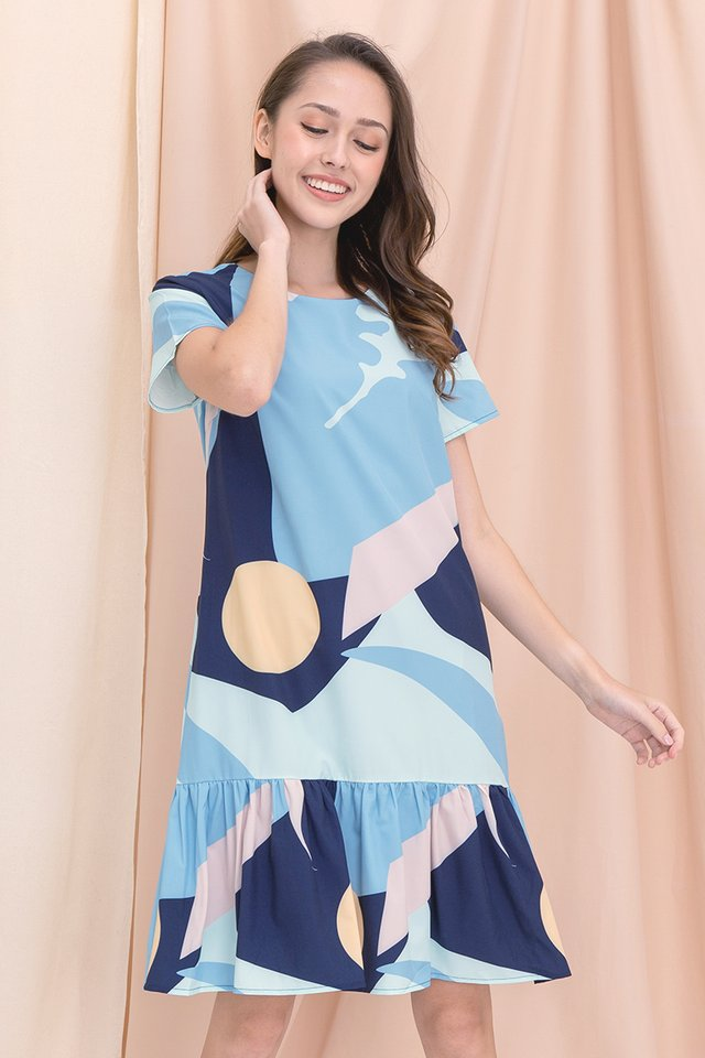 Simone Abstract Mermaid Sleeved Dress (Blue)