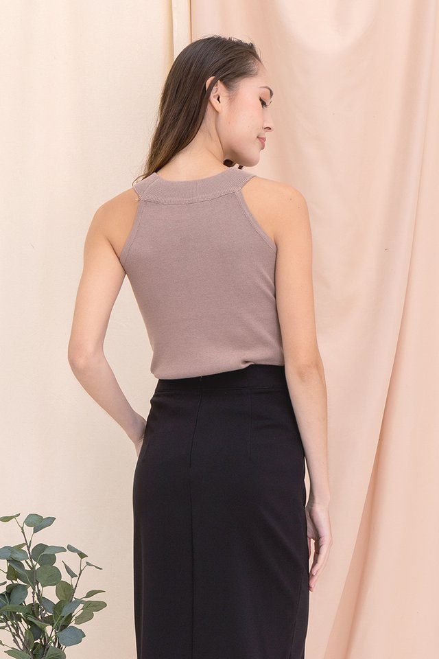 Kadie Cut-in Knit Top (Cocoa)