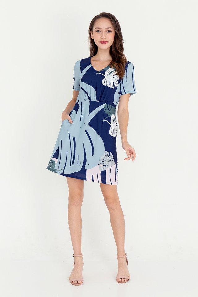 Leanne Floral Sleeve Dress (Navy Blue)