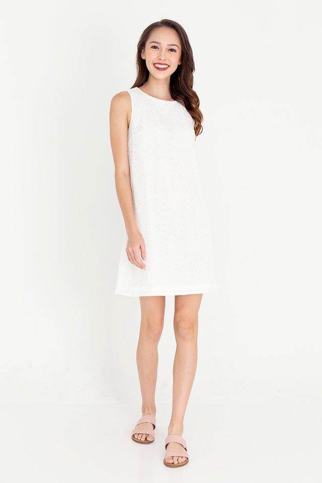 Esther Detachable Hem Eyelet Dress (White)