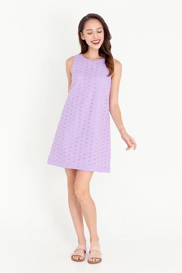 Esther Detachable Hem Eyelet Dress (Lilac)