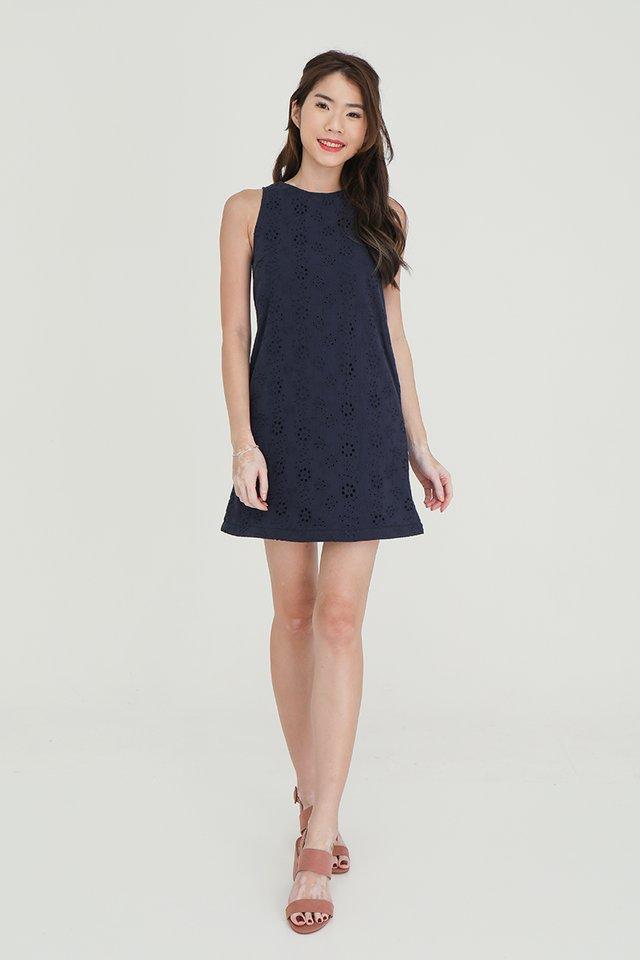 Erika Removable Hem and Collar Eyelet Midi Dress (Navy Blue)
