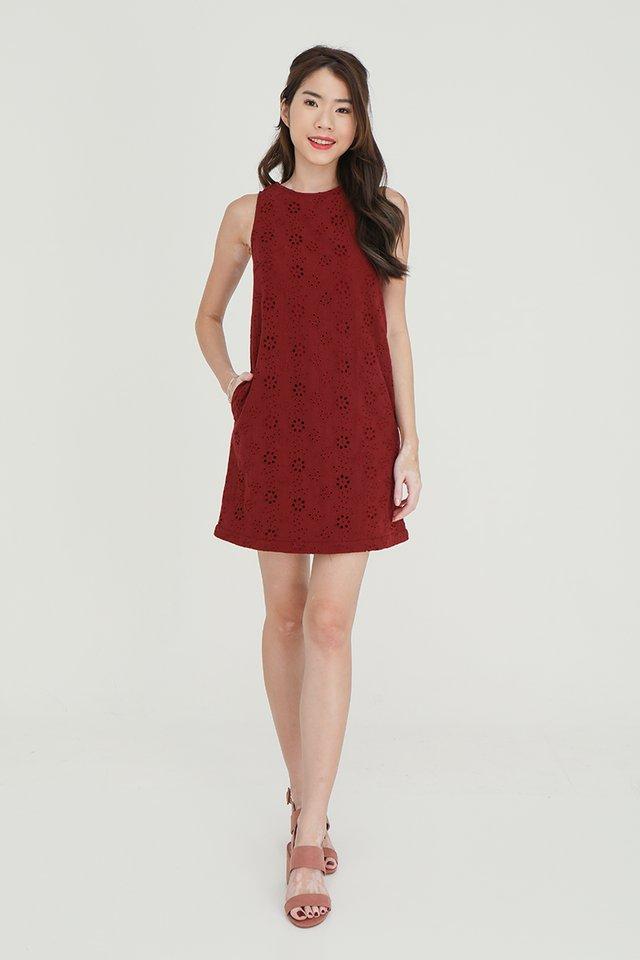 Erika Removable Hem and Collar Eyelet Midi Dress (Wine)