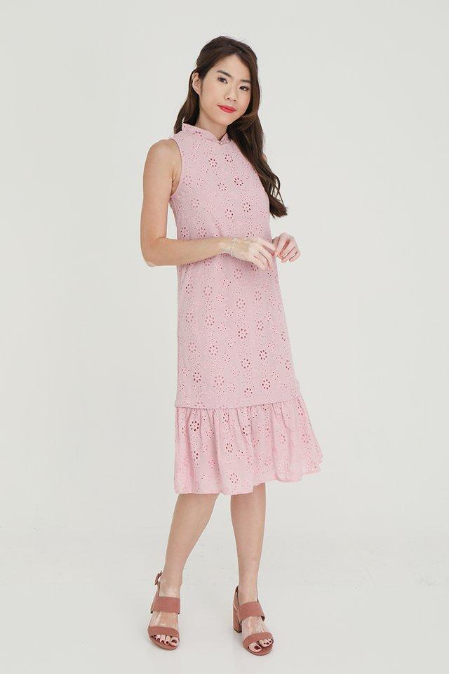 Erika Removable Hem and Collar Eyelet Midi Dress (Pink)