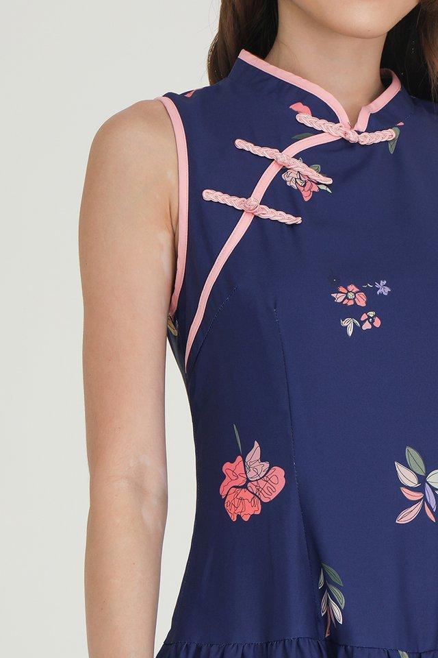 Jamie Triple Tier Floral Cheongsam Dress (Navy Blue)