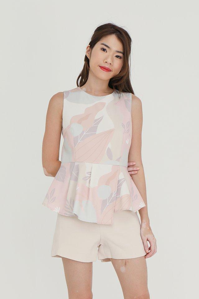 Mavis Detachable Collar Peplum Top (with matching fabric face mask) (Pink)