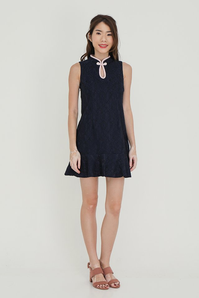 Sonia Keyhole Lace Playsuit (Navy Blue)