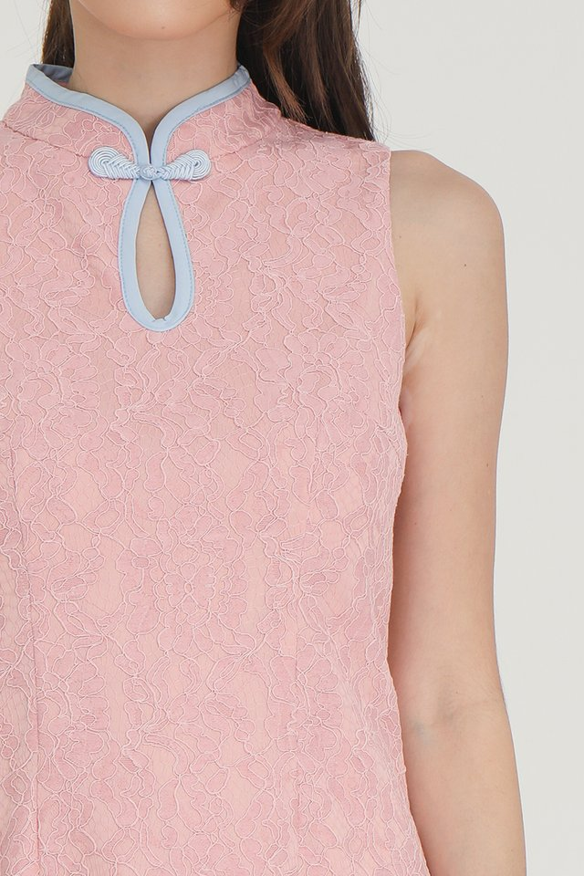Sonia Keyhole Lace Playsuit (Pink)