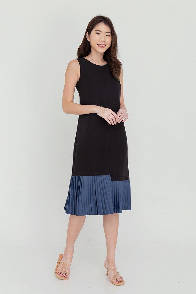 Ariana Pleated Hem Midi Dress (Black)
