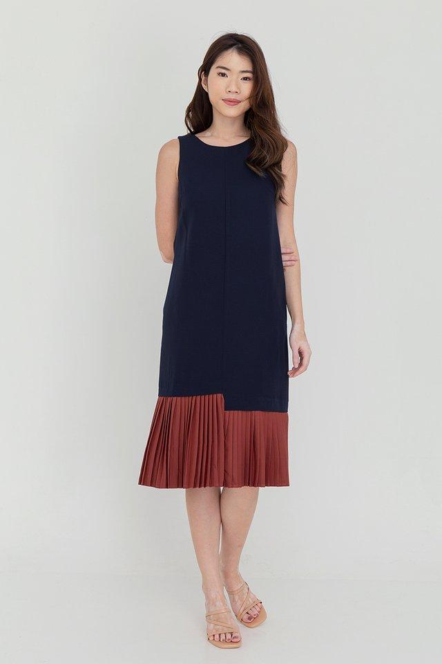 Ariana Pleated Hem Midi Dress (Navy Blue)