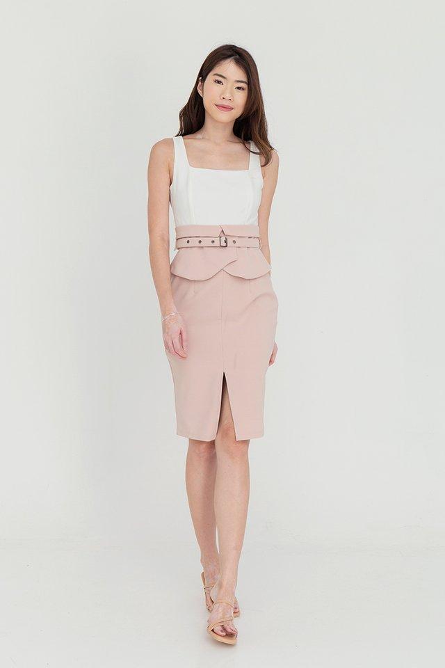 Ansley Two Tone Peplum Dress (White/Pink)