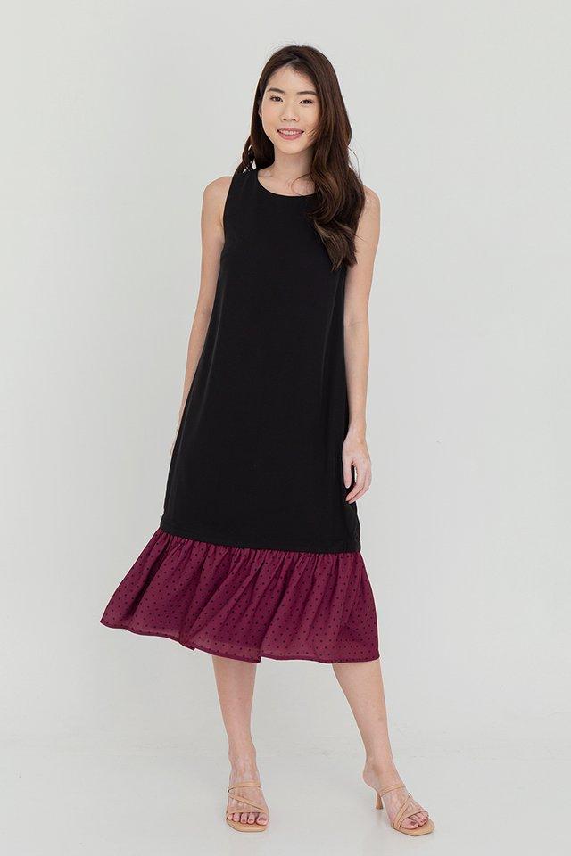 Brianna Detachable Dual Hem Midi Dress (Black)