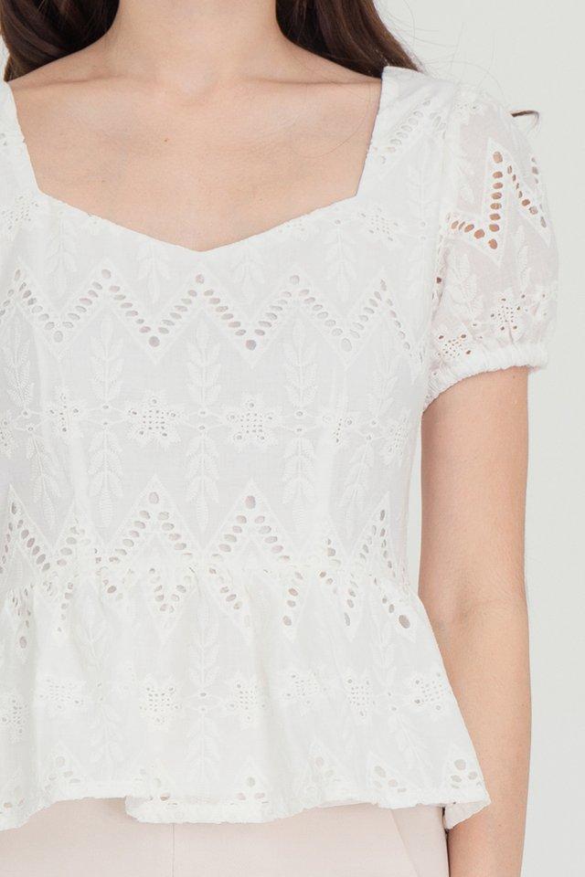 Maya Puffy Sleeves Peplum Top (White)