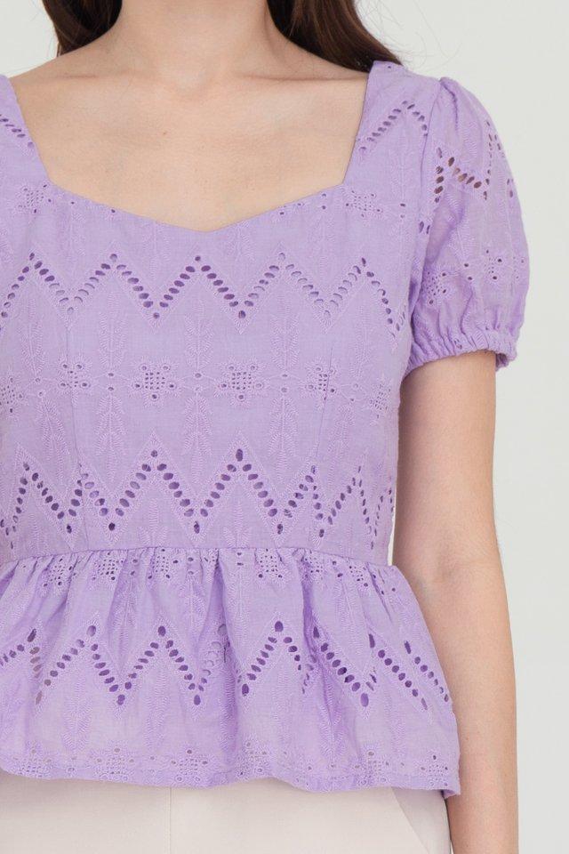 Maya Puffy Sleeves Peplum Top (Lilac)