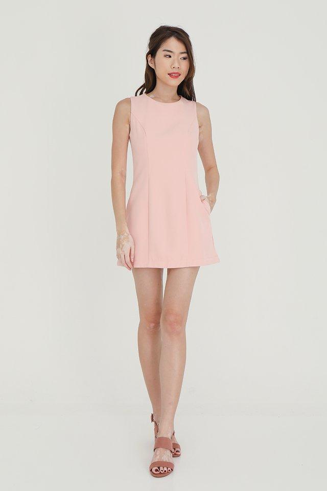 Regina Detachable Hem and Collar Romper (Pink)