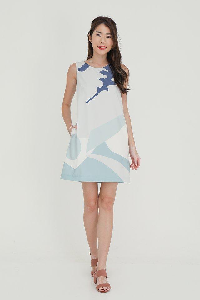 Angela Detachable Hem Abstract Dress (Blue-White)