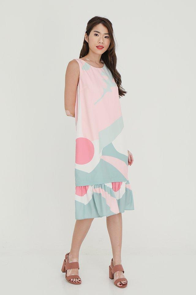 Angela Detachable Hem Abstract Dress (Pink-Green)