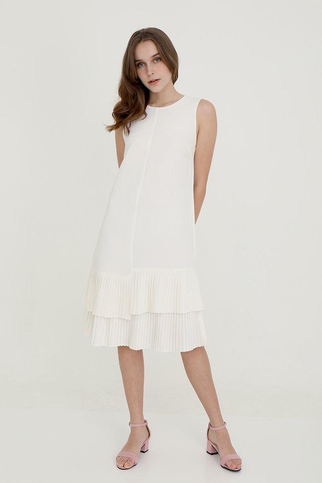 Emma Straight Cut Dress with Pleated Hem (White)
