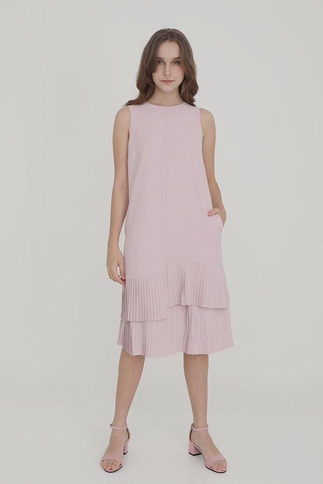 Emma Straight Cut Dress with Pleated Hem (Pink)