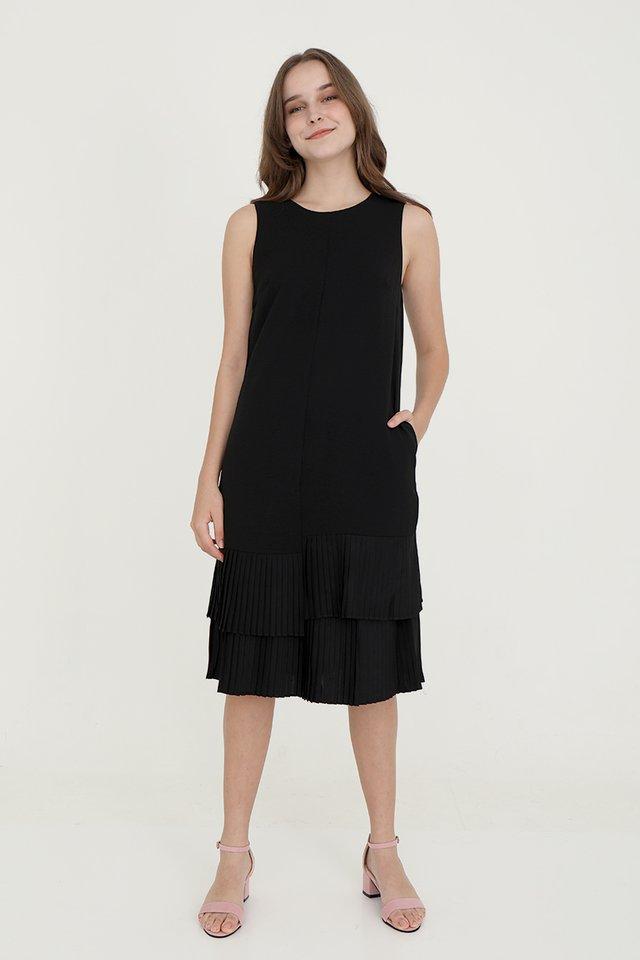 Emma Straight Cut Dress with Pleated Hem (Black)