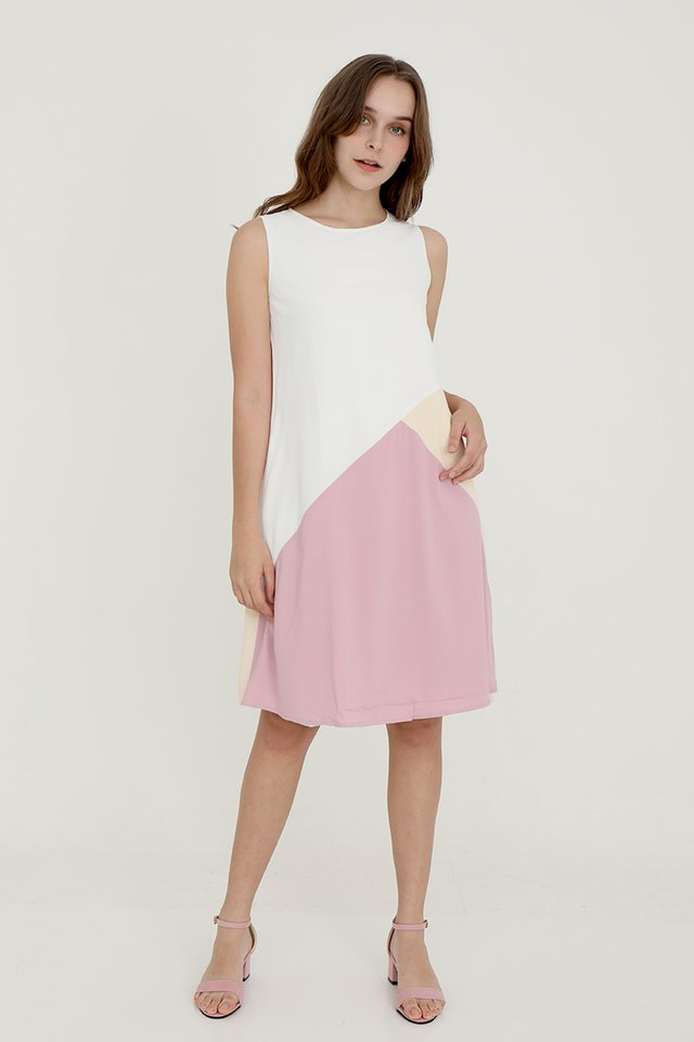 Tessley Abstract Reversible Dress (Cream-Pink)