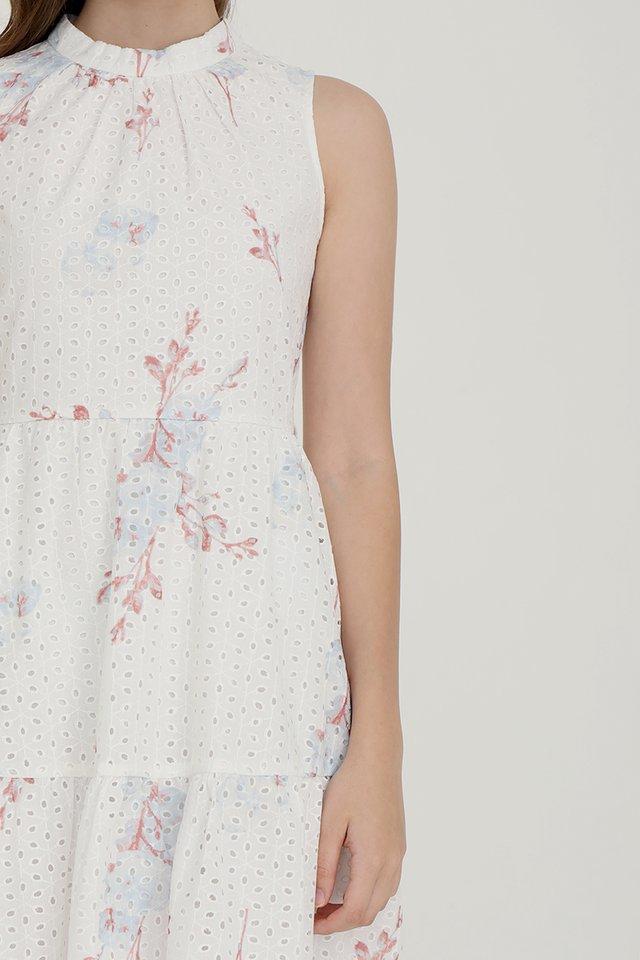 Bridget Printed Eyelet Midi Dress (White w Rust Floral)