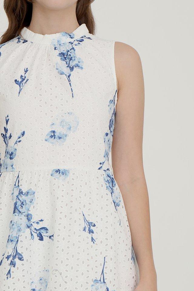 Bridget Printed Eyelet Midi Dress (White Base w Blue Floral)