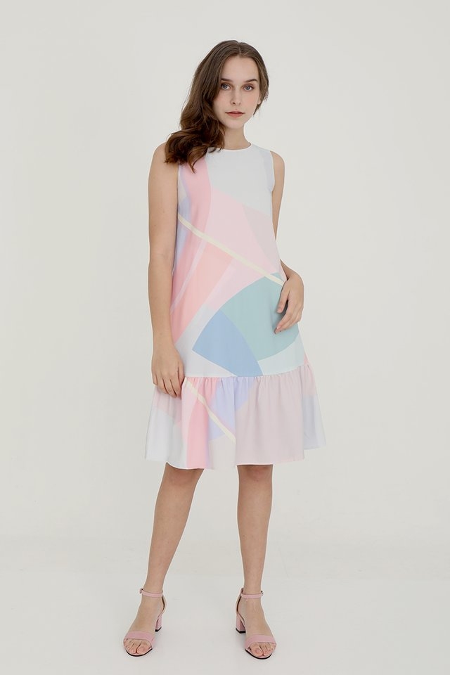 Tessley Abstract Reversible Dress (Pink-Green)