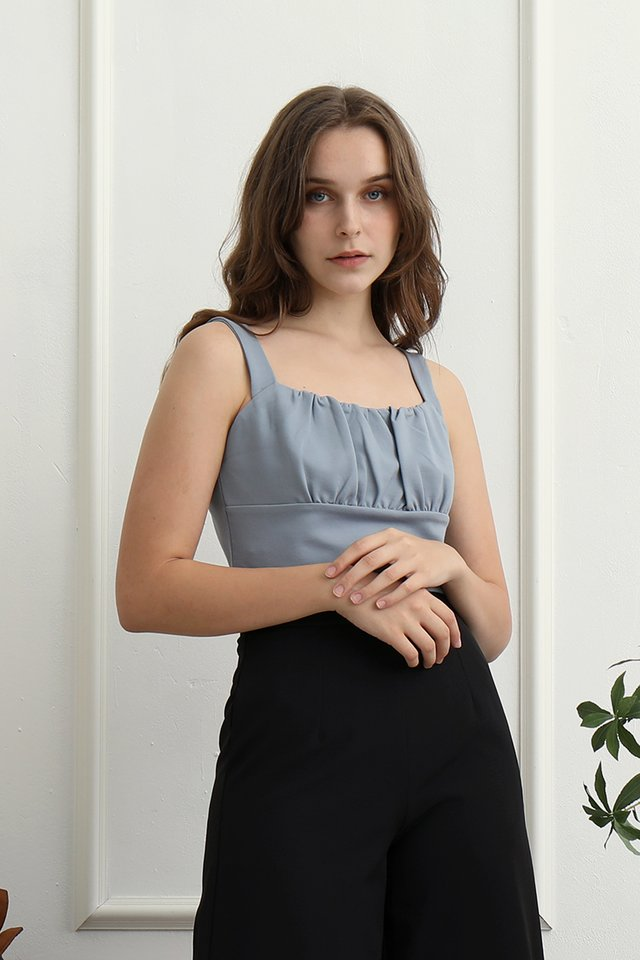 Heiley Basic Ruched Top (Blue)