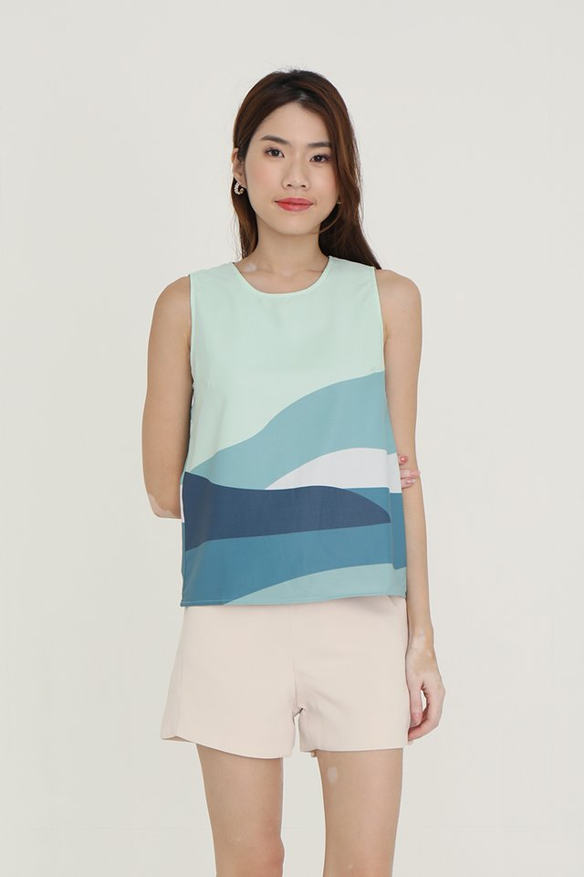 Landscape Reversible Top (Green/Lilac)