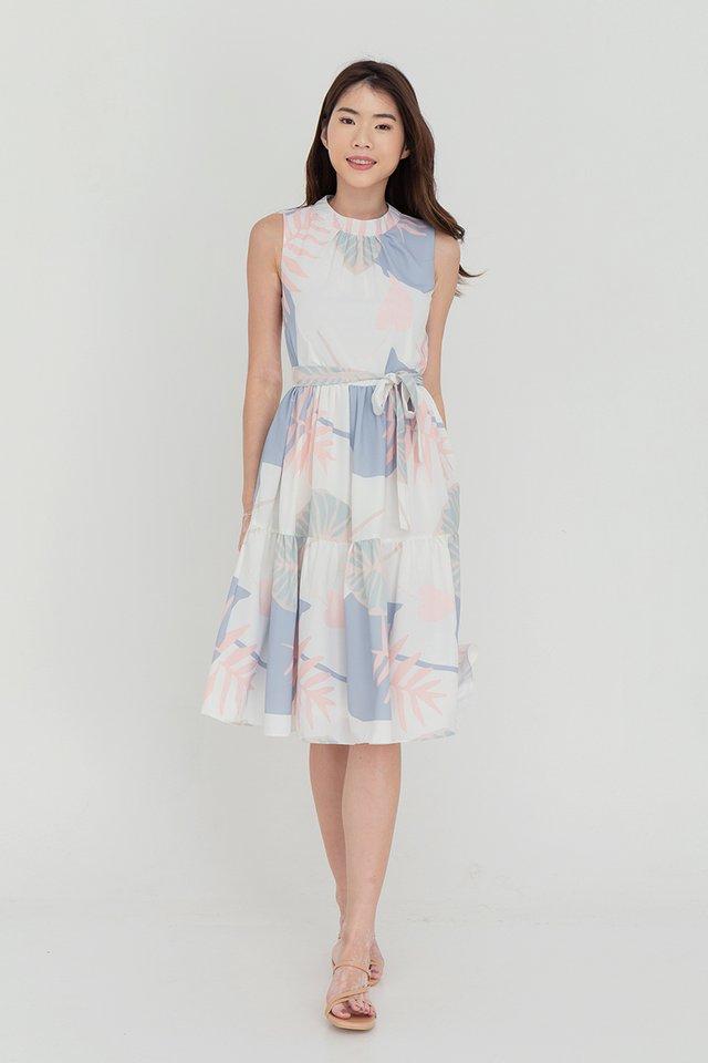 Hazel Printed Tier Dress (White)