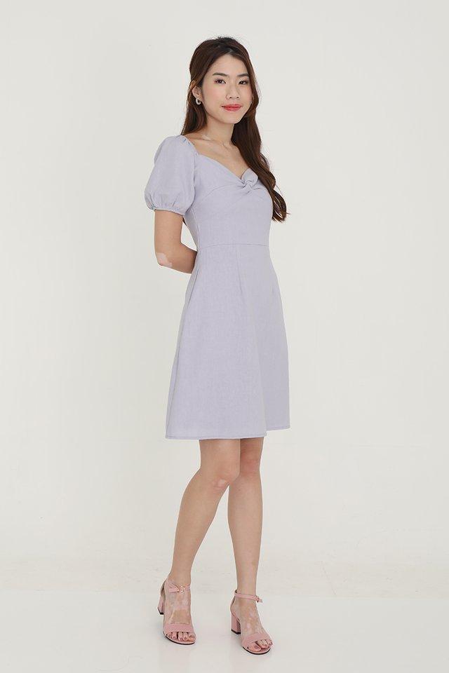 Diane Twist Detail Linen Dress (Lilac)