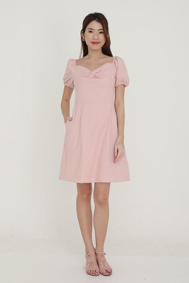 Diane Twist Detail Linen Dress (Pink)