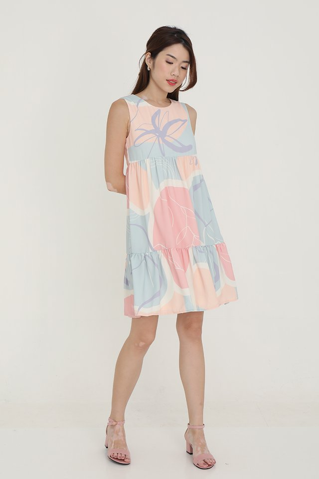 Chelsea Abstract Babydoll Dress (Pink)