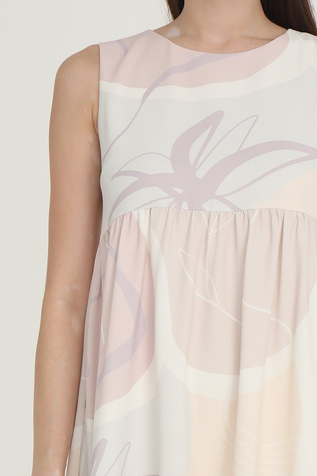 Chelsea Abstract Babydoll Dress (Cream)